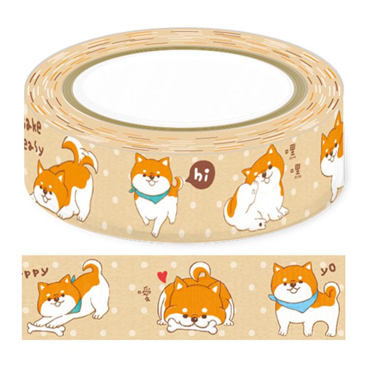 好萌紙膠帶15mm-柴犬