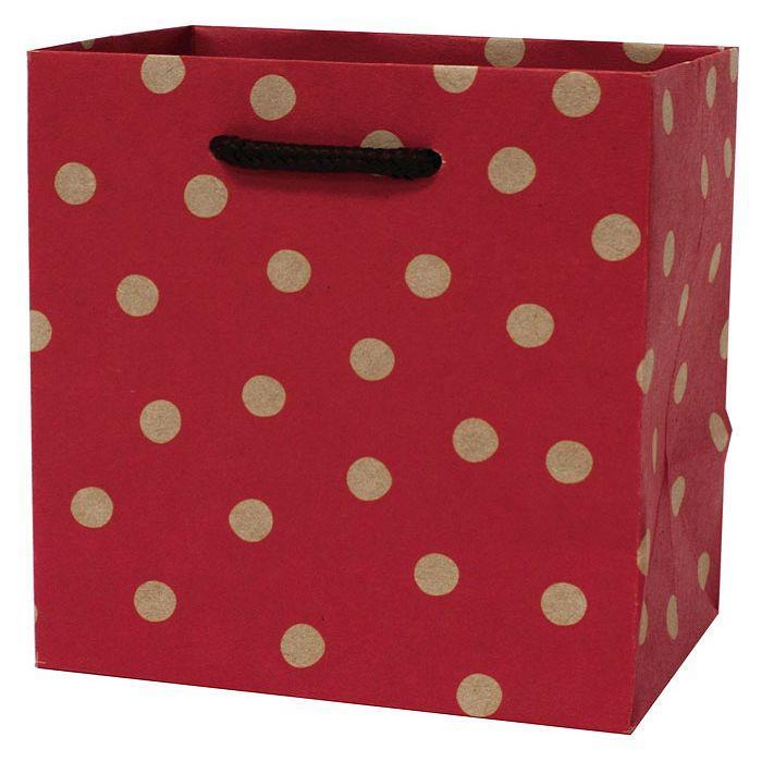 【柏格文具】幾何點點-牛皮禮物紙袋 S紅