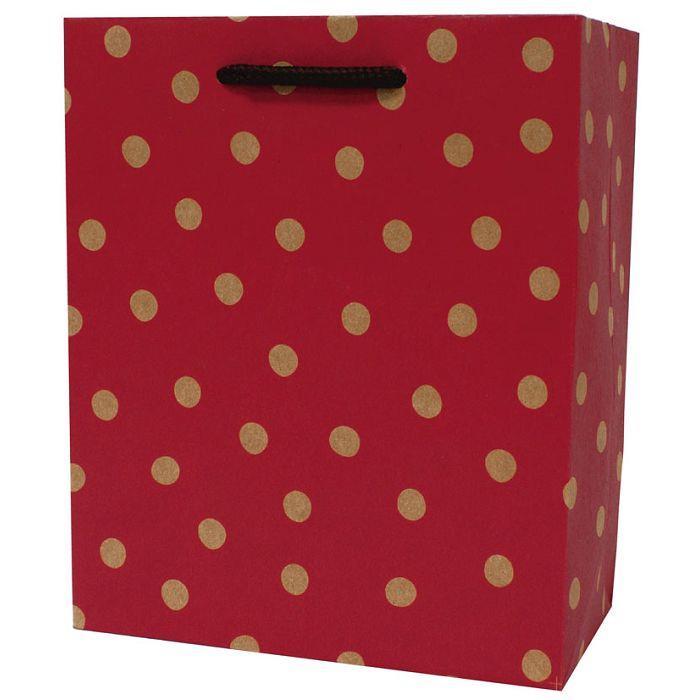 【柏格文具】幾何點點-牛皮禮物紙袋 M紅