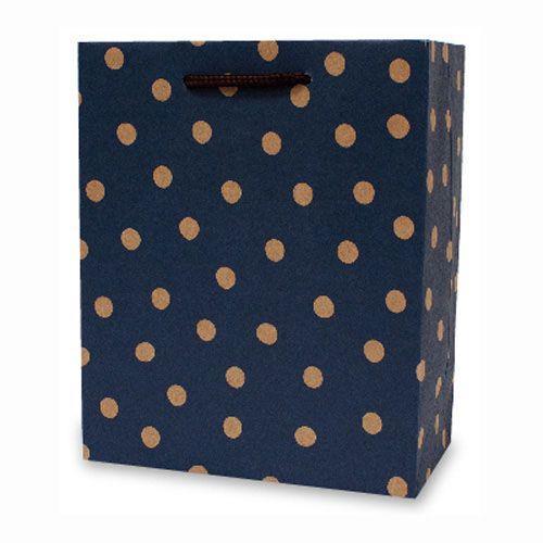 【柏格文具】幾何點點-牛皮禮物紙袋 M藍
