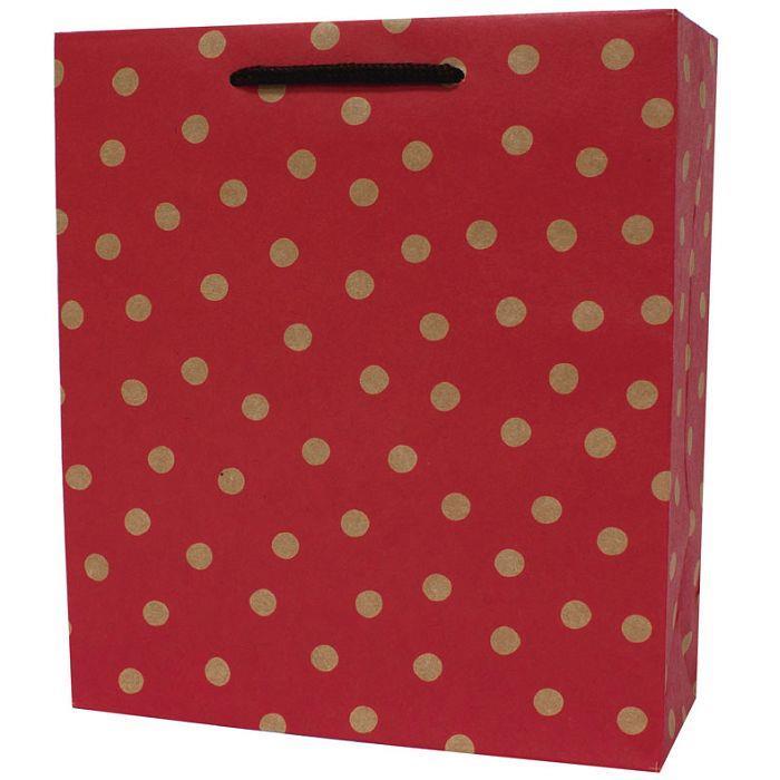 【柏格文具】幾何點點-牛皮禮物紙袋 L紅