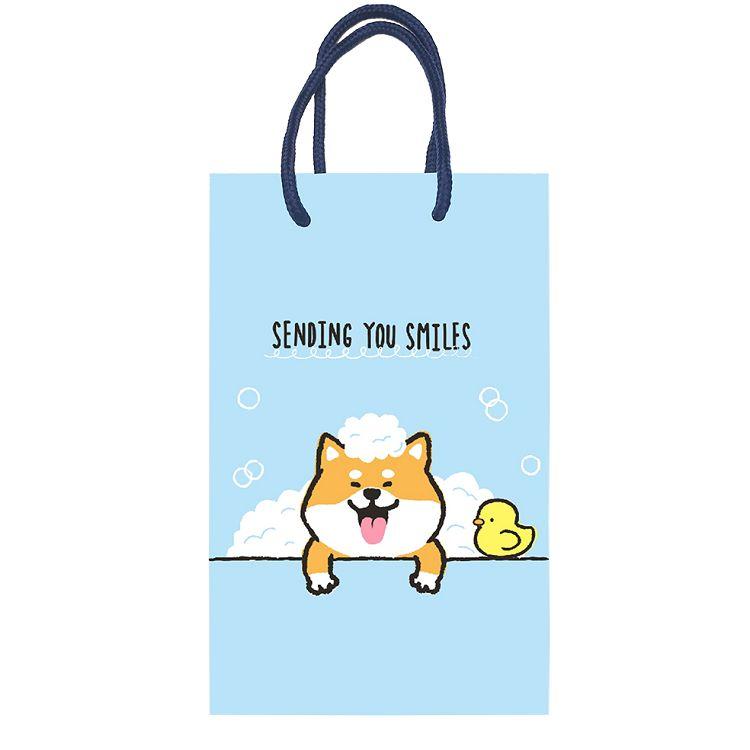 柴犬直立手提袋-洗澡