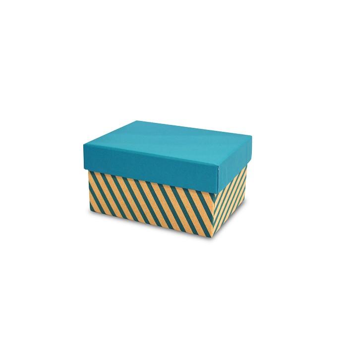 【柏格文具】幾何風禮物盒M-斜線淺藍