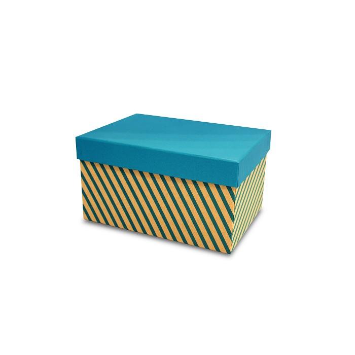【柏格文具】幾何風禮物盒L-斜線淺藍