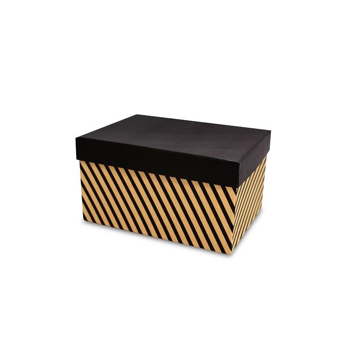 【柏格文具】幾何風禮物盒L-斜線黑