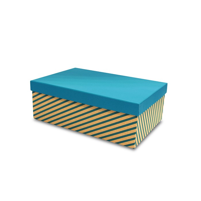 【柏格文具】幾何風禮物盒XL-斜線淺藍