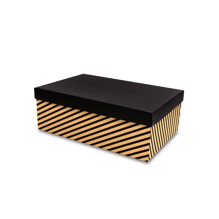 【柏格文具】幾何風禮物盒XL-斜線黑