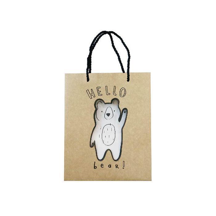 簡單生活-中牛皮禮物提袋-小熊