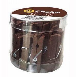【青青文具】Choice-圓桶PVC木夾3.5cm(咖啡) 23入