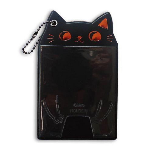 貓耳直式證件套-黑