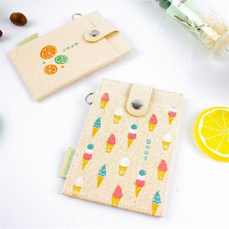 夏日風-布質扣式票卡夾-02冰淇淋