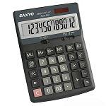 【SANLUX】12位大字鍵雙電源計算機-黑