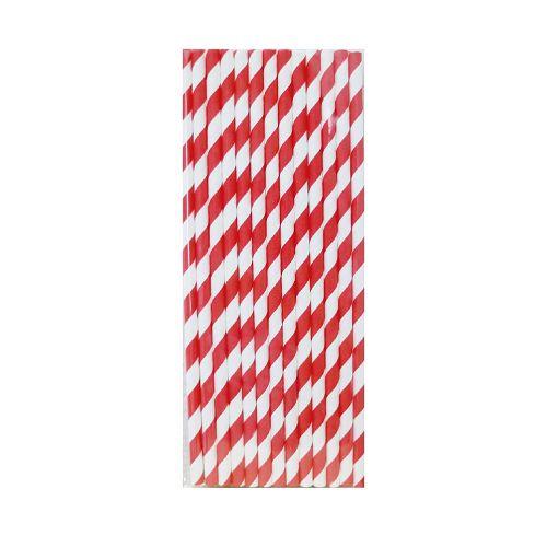 【青青】簡單生活-25入紙吸管-紅條紋