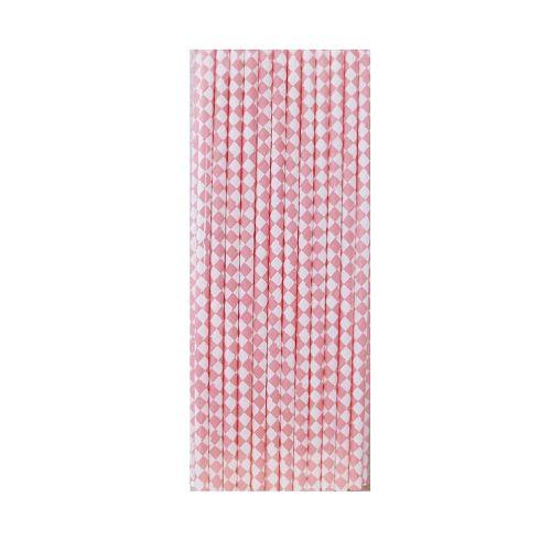 【青青】簡單生活-25入紙吸管-粉紅格
