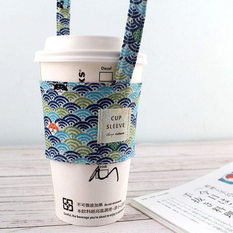【珠友】杯套式飲料杯提袋-03波浪(藍)