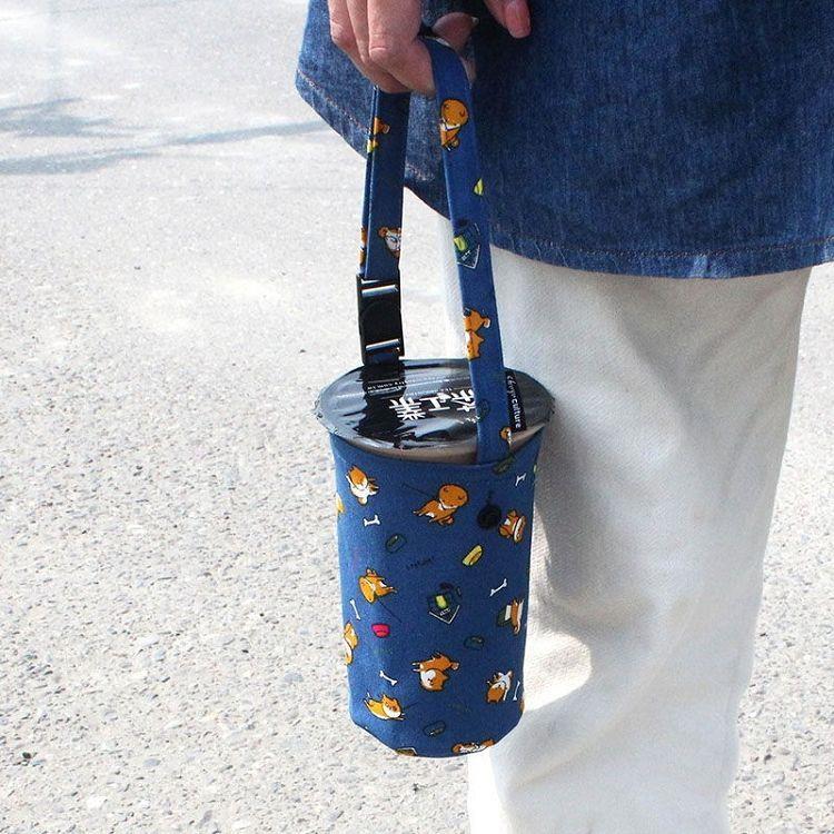 【珠友】可調式提把飲料袋/附插扣-04狗的日常(藍)