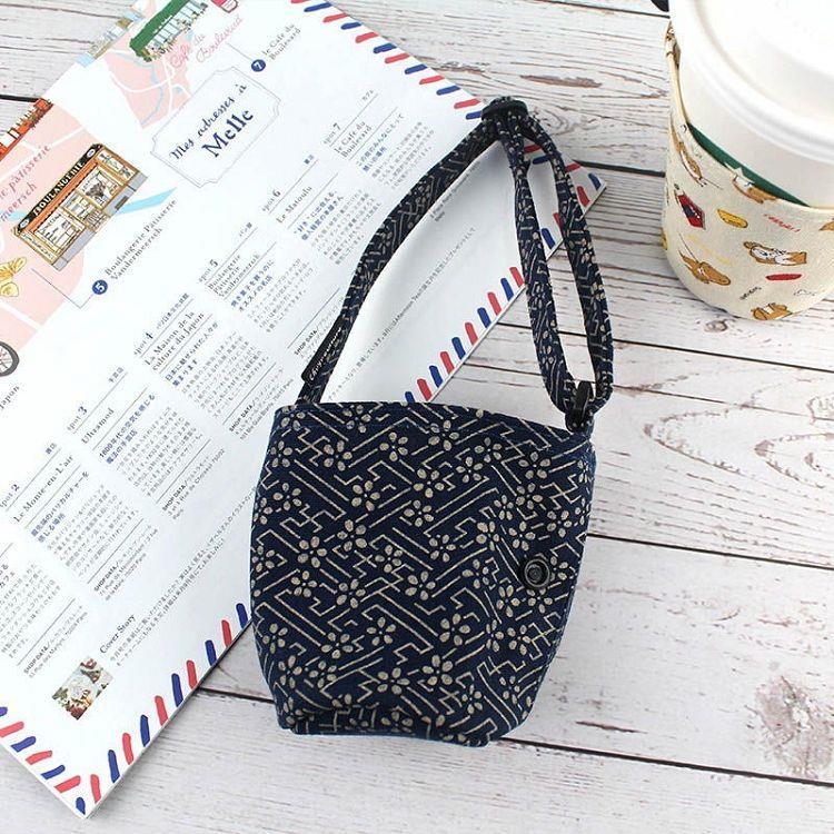 【珠友】可調式提把咖啡杯提袋/附收納扣-02金色煙花(藍)