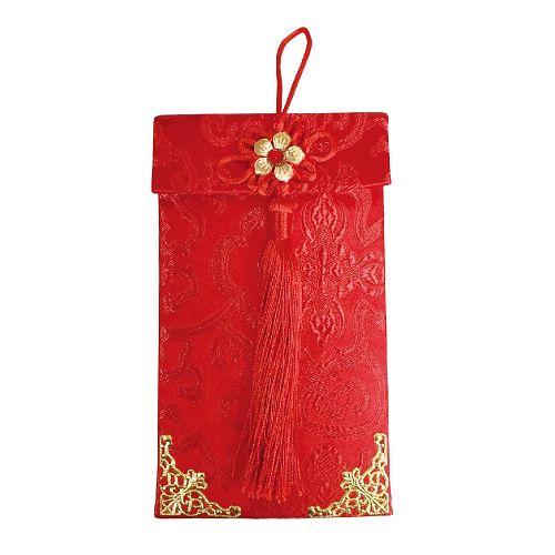 節慶系列-流蘇錦緞布紅包-富貴花