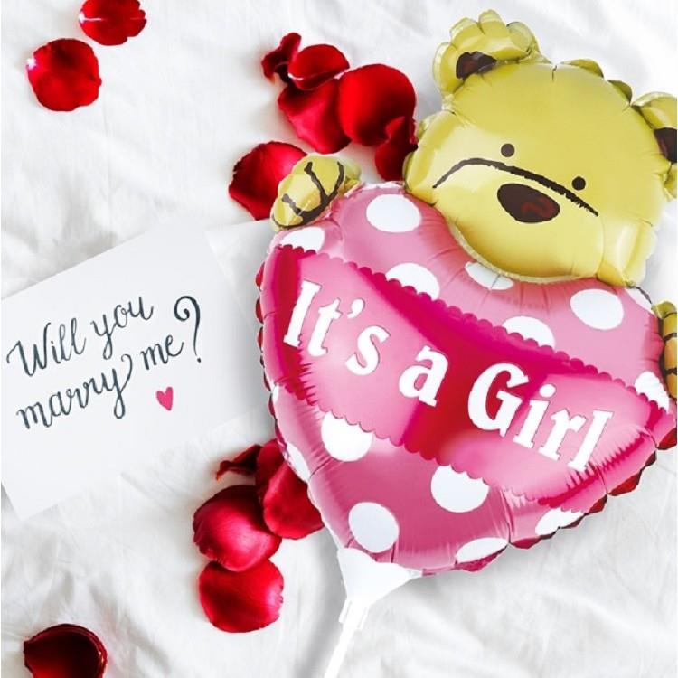 派對佈置-MINI手拿鋁箔小熊氣球-01粉紅
