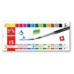 CARAN d`ACHE FANCOLOR GOUACHE塊狀廣告顏料15色 +筆刷