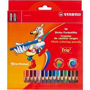 【STABILO】德國天鵝牌Trio thick系列三角筆身色鉛筆18支裝+削筆器組合(1盒18色)紙盒裝