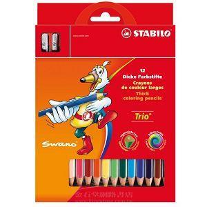 【STABILO】德國天鵝牌Trio thick系列三角筆身色鉛筆12支裝+削筆器組合(1盒12色)紙盒裝