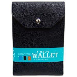 輕巧三層小包(手機+護照)-直 黑