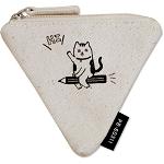 【珠友】布麻帆三角零錢包-鉛筆貓