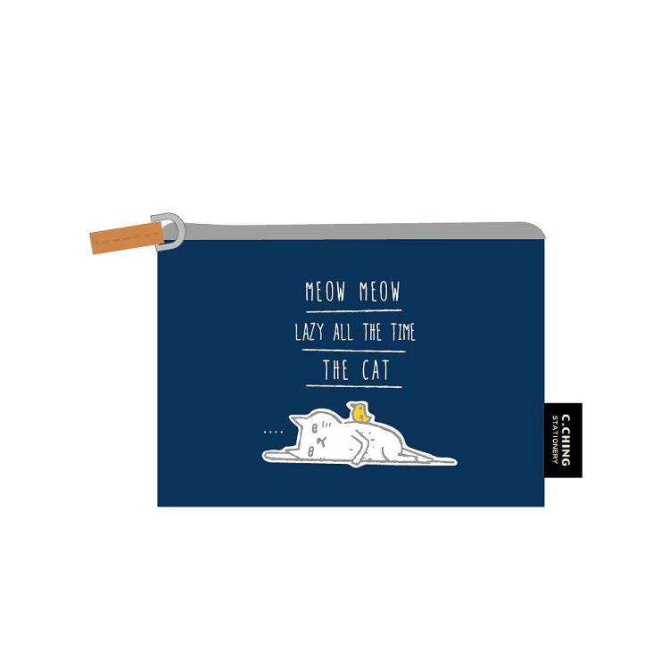 【青青】簡單生活-喵Meow票卡零錢包-藍