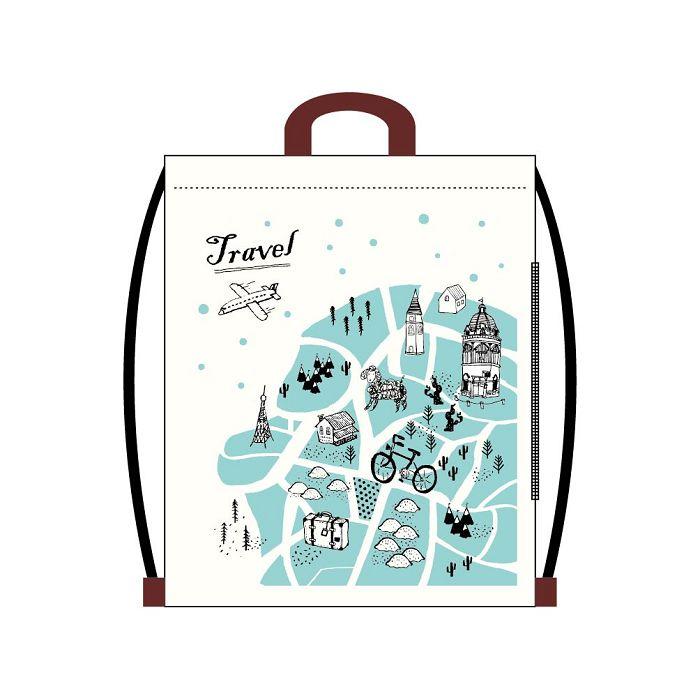 【青青】旅行時光-棉布束口後背包-地圖