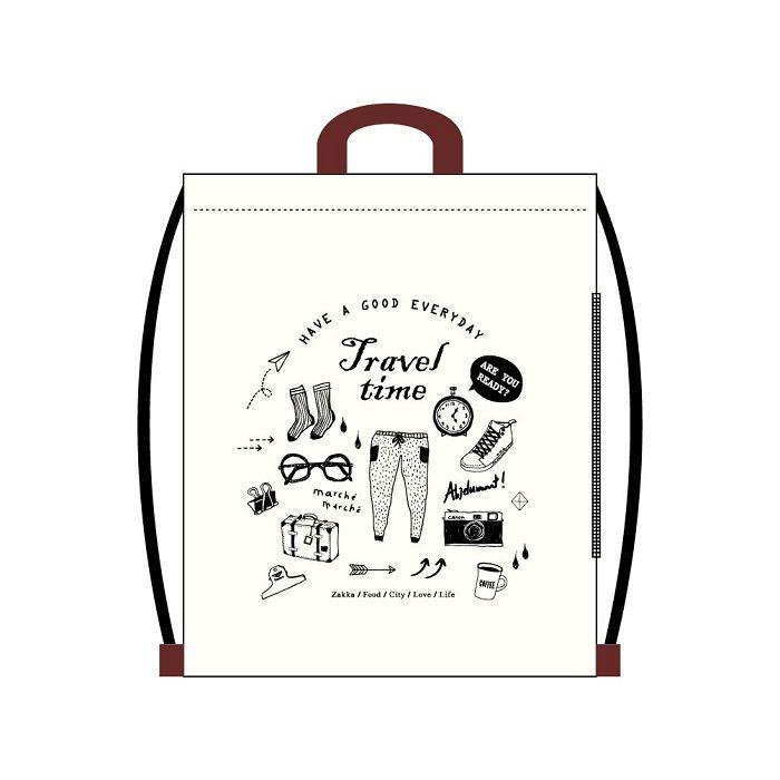 【青青】旅行時光-棉布束口後背包-旅行