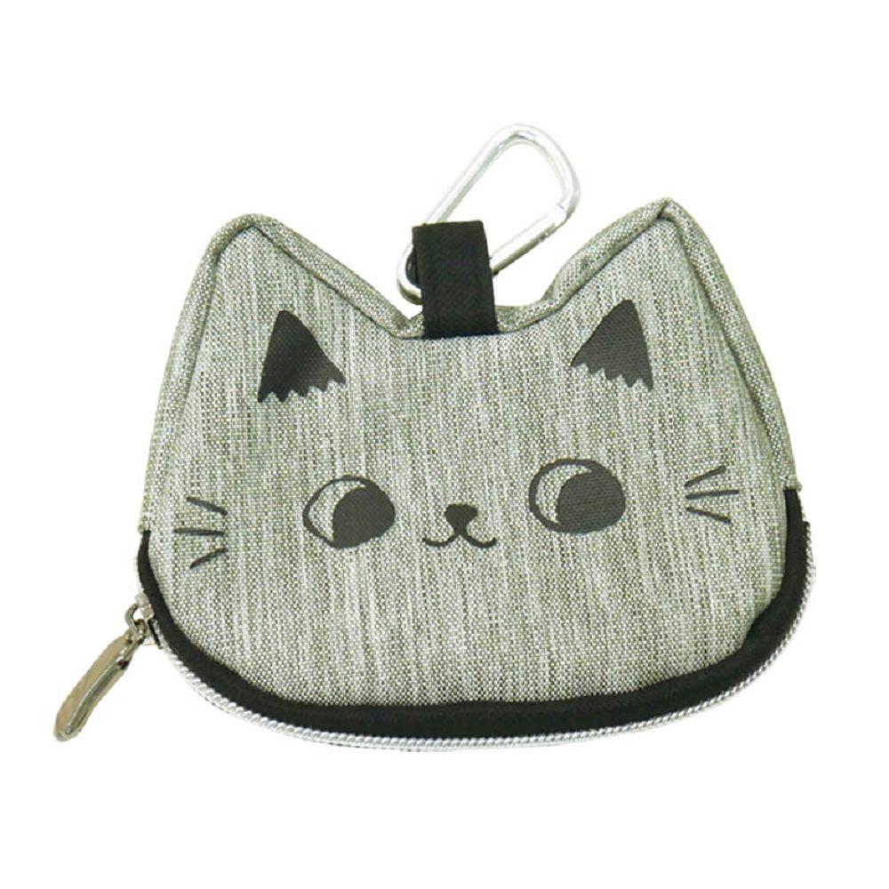 O-cat可愛貓耳造型零錢包-灰