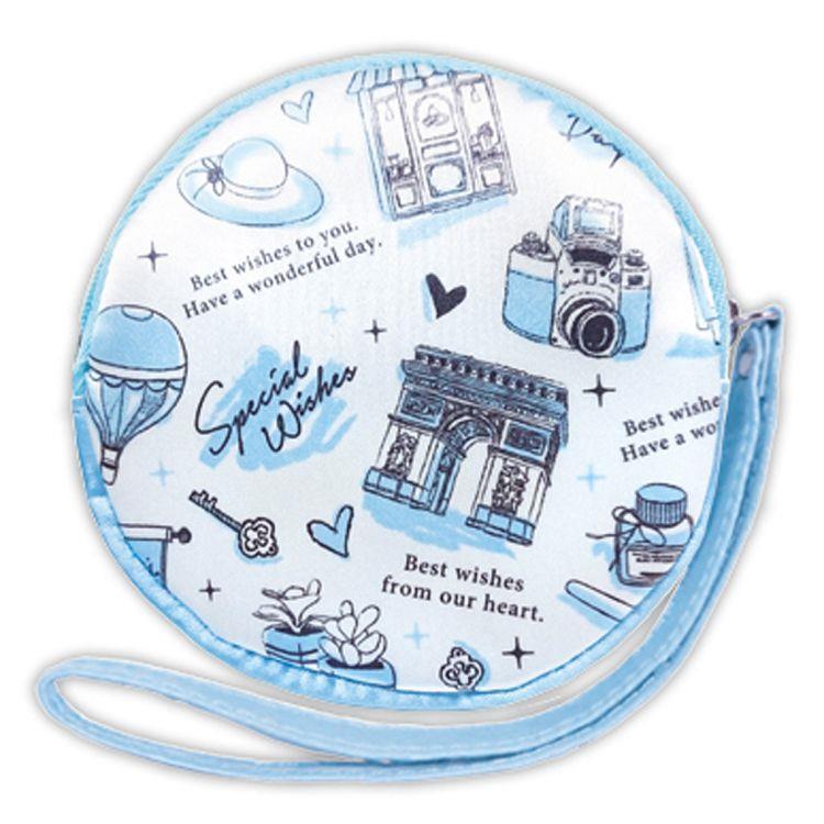 馬卡龍-緞布手提零錢包-藍