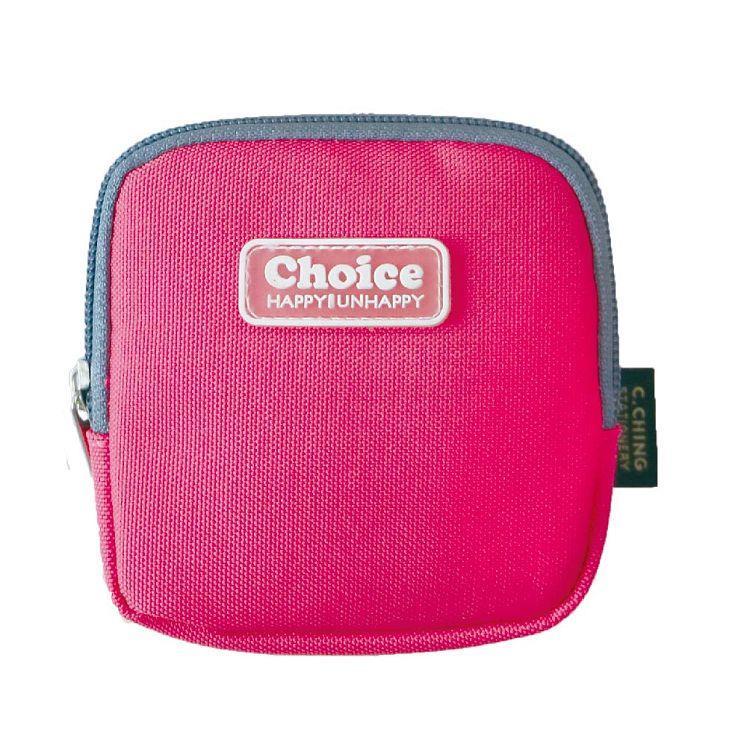 Choice簡約素色方型零錢包-桃紅