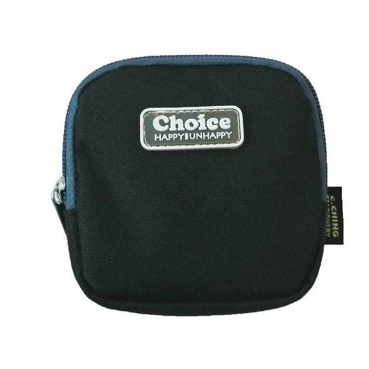 Choice簡約素色方型零錢包-黑