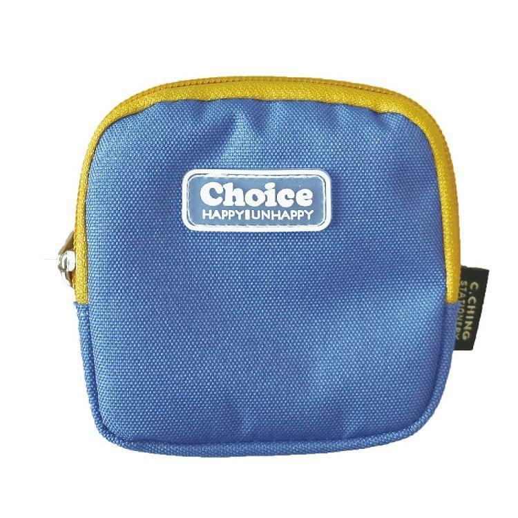 Choice簡約素色方型零錢包-藍