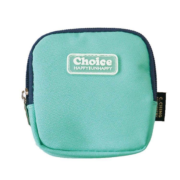 Choice簡約素色方型零錢包-藍綠