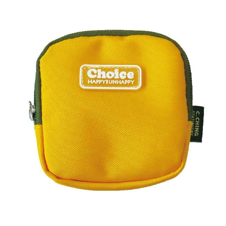 Choice簡約素色方型零錢包-黃