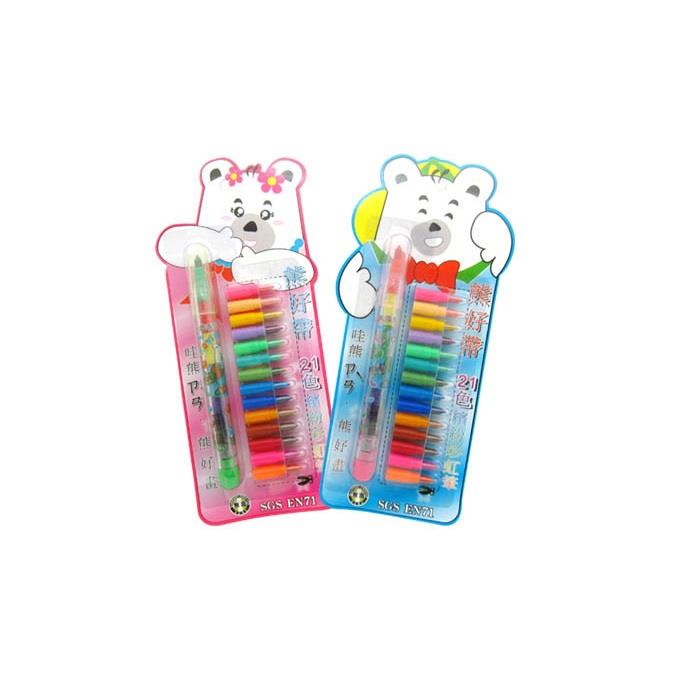 熊好帶21色繽紛彩虹筆-顏色隨機出貨