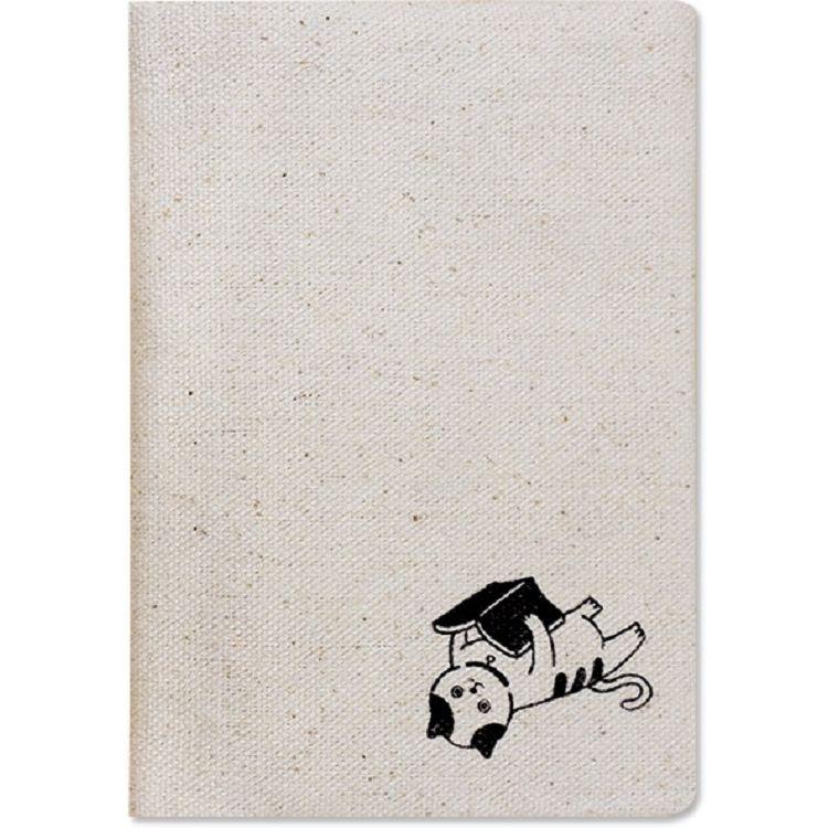 【珠友】布麻帆護照套-書本貓