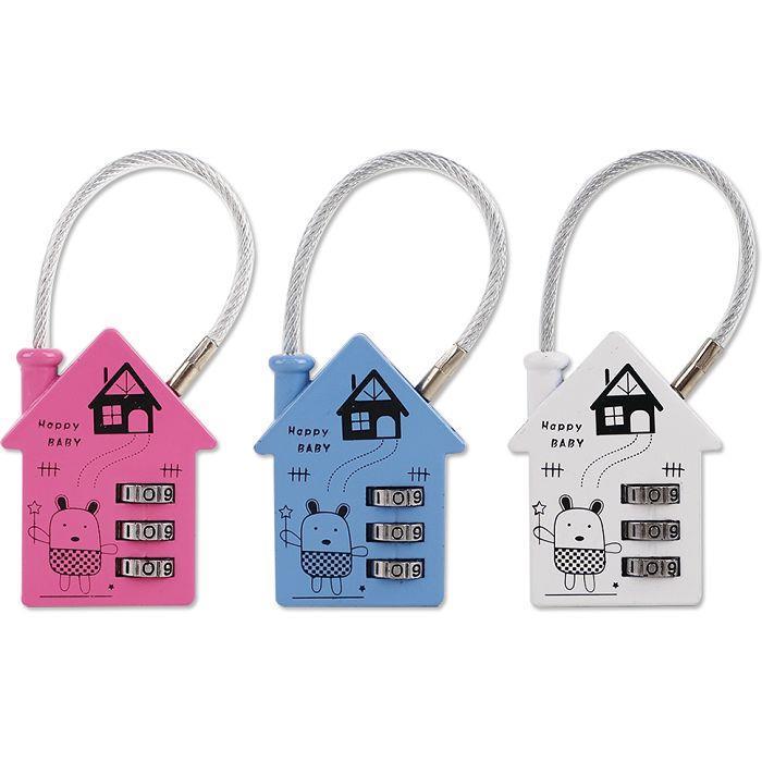 房屋造型鋼繩密碼鎖/三碼-01粉紅