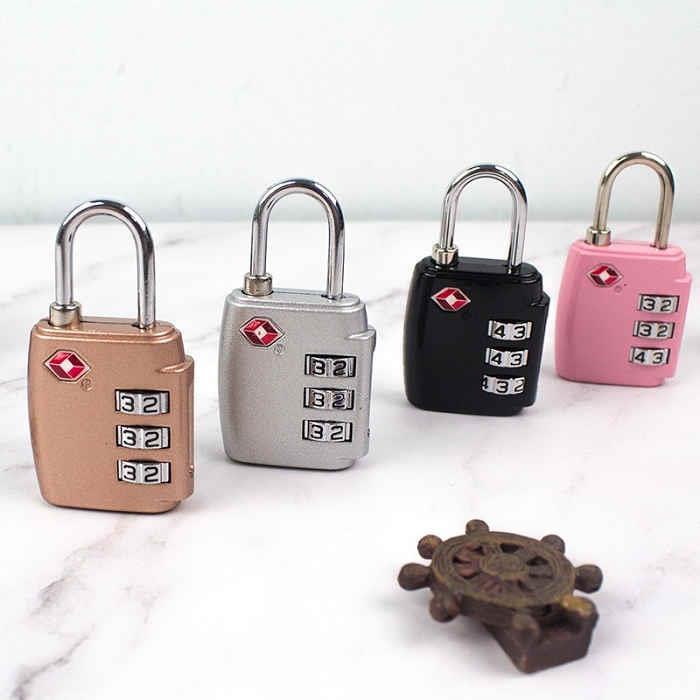 TSA海關桶型三碼密碼鎖-01黑
