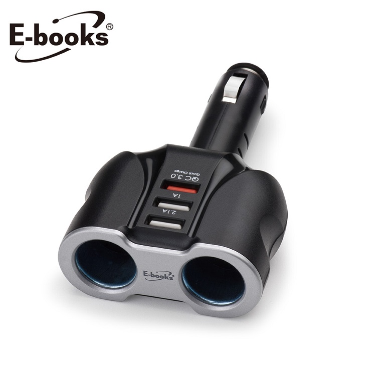 E-books B32 車用QC3.0 USB快充+雙槽擴充充電器