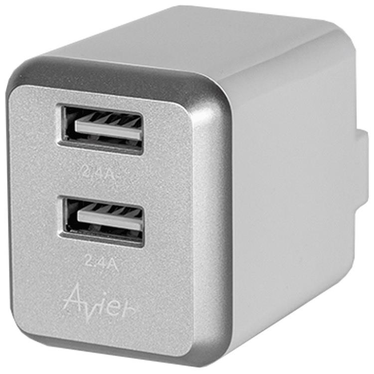 【Avier】4.8A USB電源供應器_銀灰