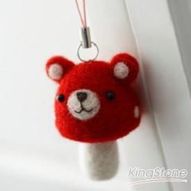 蘑菇熊吊飾(紅色)