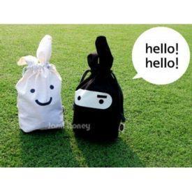 愛旅行!韓國Rabbit 黑白忍者兔束口收納袋 / 便當袋 / 收納(隨機)