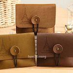 巴黎鐵塔皮質復古扣捲式零錢卡套包