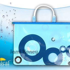 水藍圓點防水夾鏈式手提袋