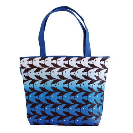【COPLAY設計包】錯視魚鳥-藍 托特包