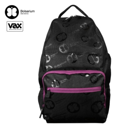 VAX BOLSARIUM 卡威特手提後背二用包-黑色+紫邊條